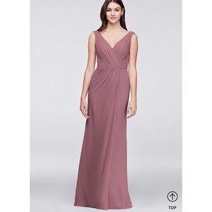 Faux-Wrap Pleated Bridesmaid Dress